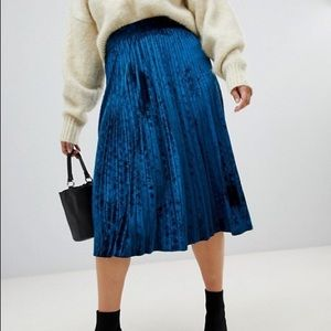 ASOS Plus Lost Ink Teal Velvet Pleated Midi Skirt